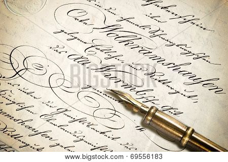 Old Letter With Calligraphic Handwritten Text