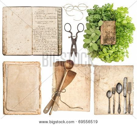 Kitchen Utensils, Antique Cookbook, Aged Paper Pages And Herbs