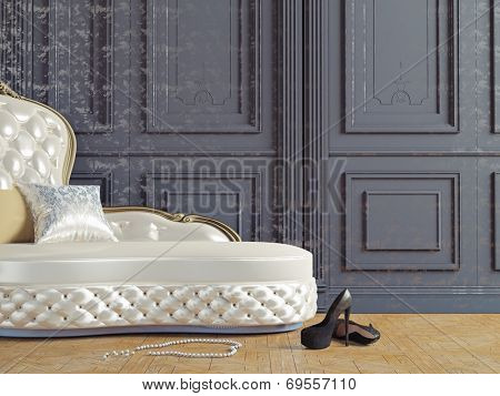 the vintage sofa and near the  wall (3d illustration)