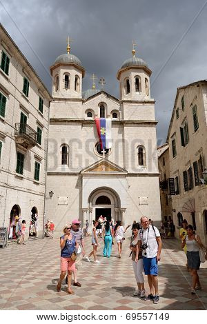Kotor, Montenegro - July 9: Serbian Orthodox Church Of St Nicolas On July 9, 2014 In Kotor
