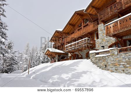 Ski Resort Hotel In The Snow