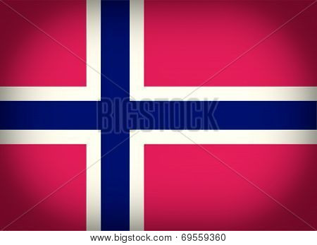 Retro Look Flag Of Norway