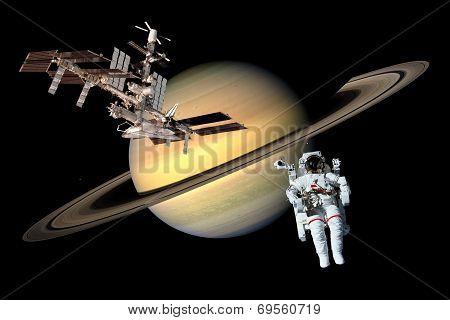 Space Astronaut Saturn Exploration
