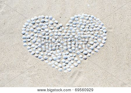 Heart of shells on the beach