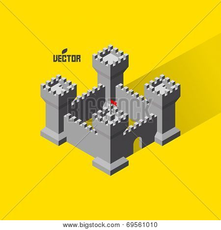 Castle. Medieval fort with defense towers. 3D vector Illustration.