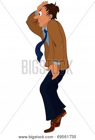 Cartoon Man In Brown Jacket Standing On Tiptoe