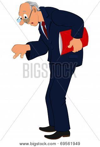 Cartoon Old Man In Blue Jacket And Tie Looking Down