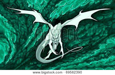 Angry dragon flying in the fire. Vector illustration