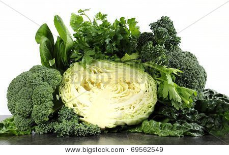 Healthy Diet Health Foods With Leafy Green Vegetables Including Cabbage, Broccoli, Broccolini, Parsl