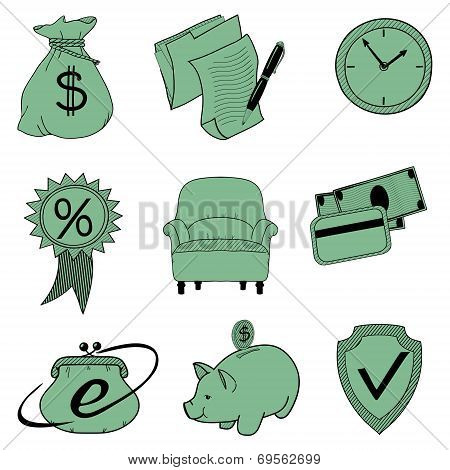 Doodle banking icons