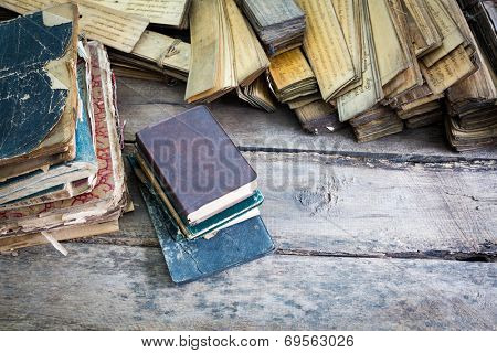 Vintage old books on wooden table