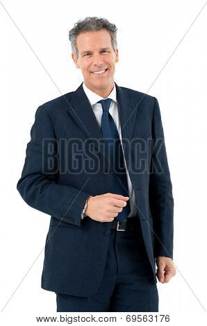 Portrait Of Succesful Mature Man Looking At Camera Isolated On White Background
