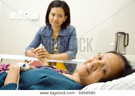 Sick Grandmother Happy Visit By Granddaughter