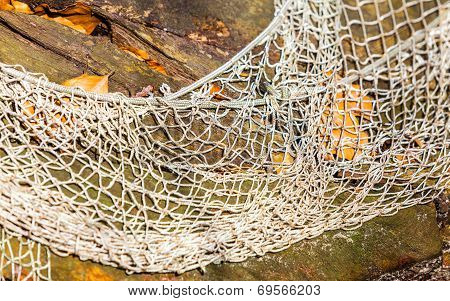 Fishing. White Fishnet Net On Wooden Background Outdoor