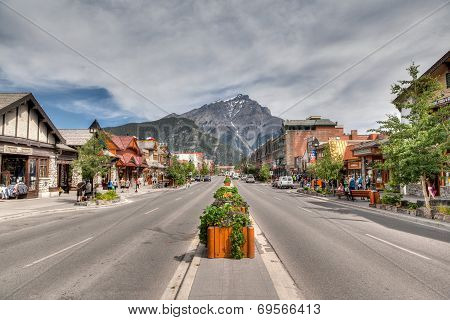 Banff Townsite In The Canadian Rockies