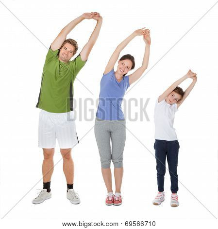 Fit Family Doing Stretching Exercise