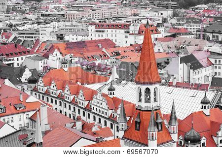 Red Roof Tops Of Munich City Center