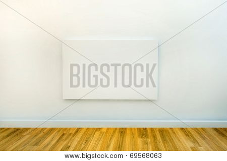 white room with oak or pine wooden flooring