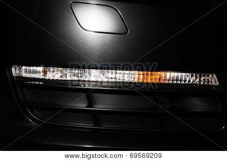 Car front turn light closeup
