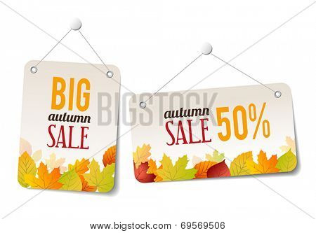 Autumn sales labels - stickers for web or print
