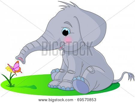Cute baby elephant sniffs a flower