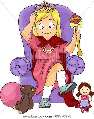 Illustration of a Little Girl Pretending to be a Princess