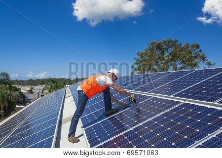 Solar Panels With Technician