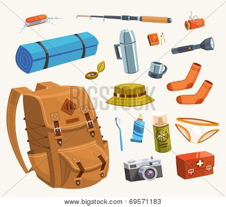 Camping equipment. Vector illustration.