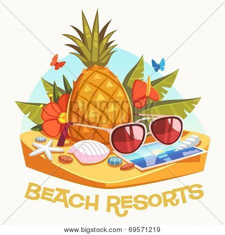 Beach resorts. Vector illustration.