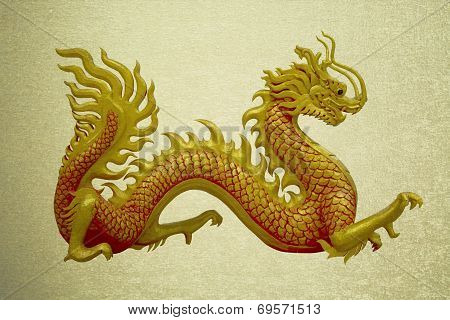 Vintage Picture Golden Chinese Dragon On Isolate Background