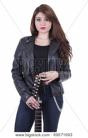 Beautiful sexy young musician girl holding electric guitar