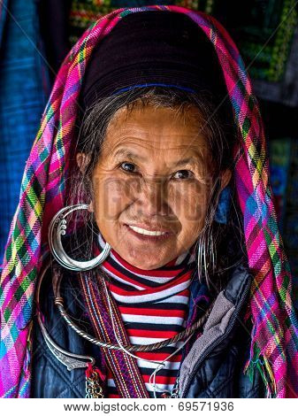 Portrait Of Black Hmong Woman Wearing Traditional Attire, Sapa, Vietnam