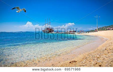 Beautiful Ouranoupolis sandy beach on Athos peninsula, Greece.