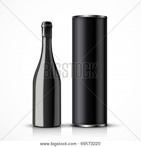 Black Wine Bottle With Packaging Box