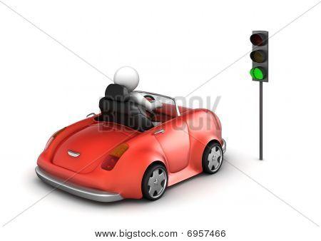 Red Cabrio Starting On Green Traffic Light Signal