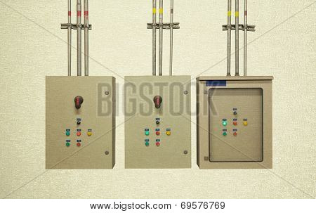Electric System In Cabinet  Building System Vintage Background