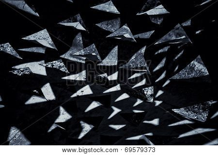 dark black and white triangle background