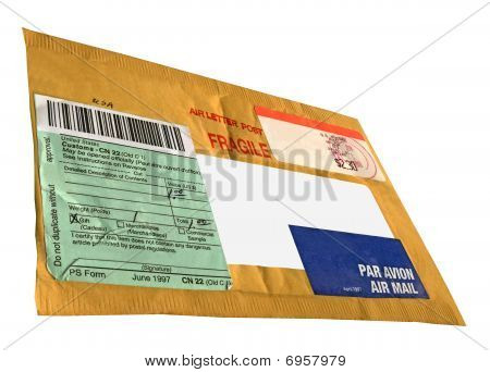 Single Yellow Mail Package (envelope, Cn22 Form),recycled Paper, Isolated On White