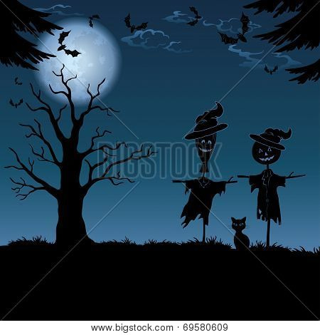 Halloween landscape, with scarecrows
