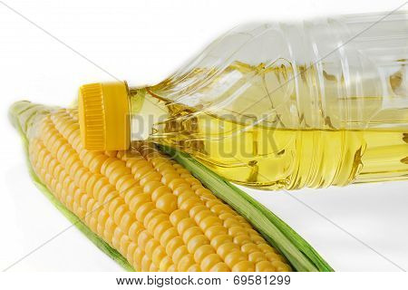 Corn Oil On A White Background