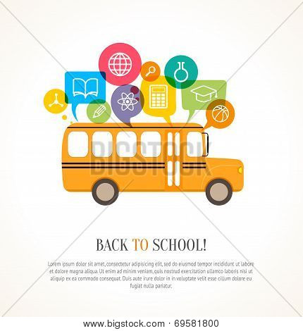 School Bus With Color Speech Bubbles And Education Icons