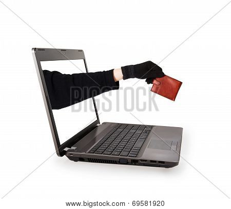 Thief Hand With Leather Purse From A Laptop Screen