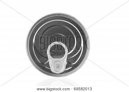 Top view of metal can.