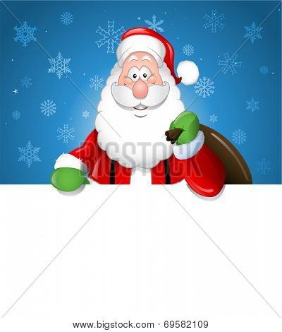 Cartoon Santa Claus over a white blank copyspace
