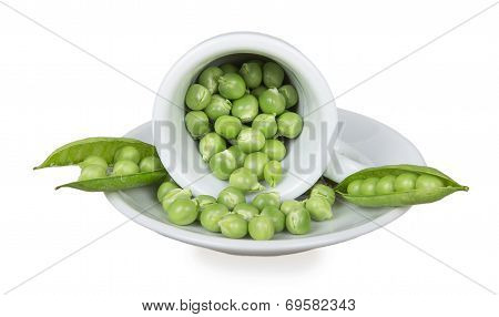 Fresh Green Peas In An Inverted White Cup
