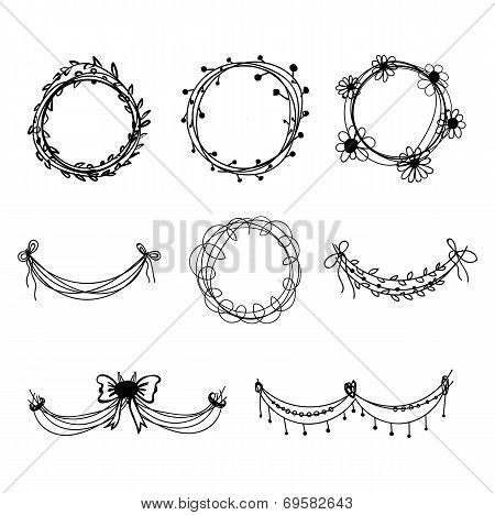 Set of black hand-drawn floral  design elements