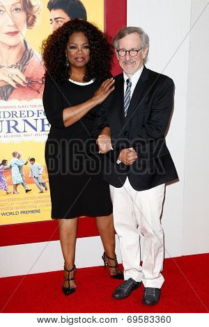 NEW YORK-AUG 4: Producers Oprah Winfrey (L) and Steven Spielberg attend