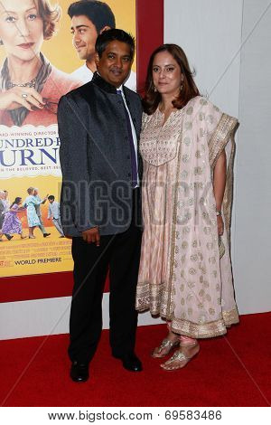 NEW YORK-AUG 4: Consultant Chef Floyd Cardoz (L) and Barkha Cardoz attend