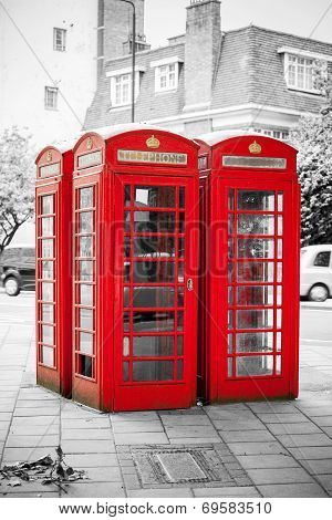 Red Telephone Boxes. London, England
