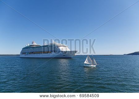 Sailboat And Cruise Ship